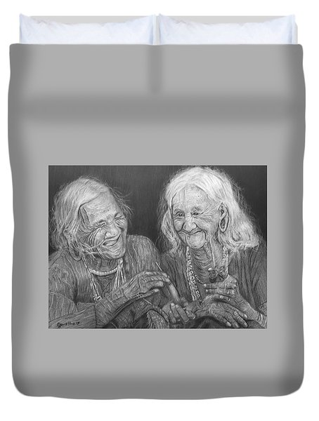 Old Friends, Smokin' And Jokin' 2 Duvet Cover