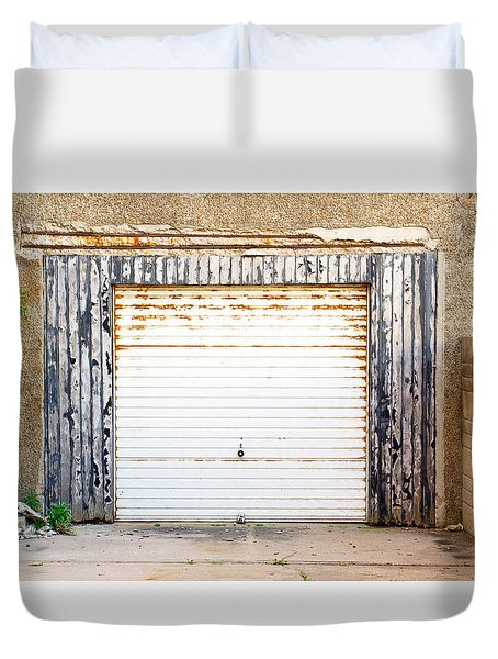 Old Garage Door Duvet Cover