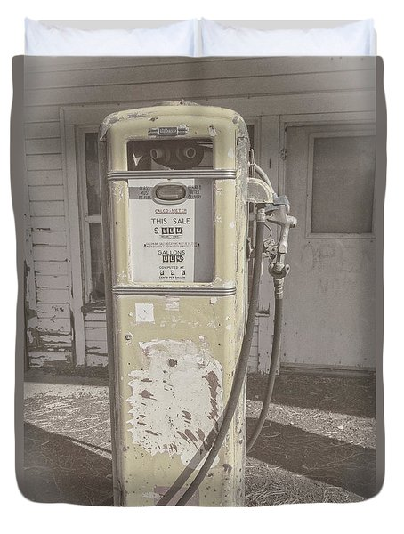 Old Gas Pump Duvet Cover by Robert Bales
