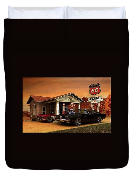 Duvet Cover featuring the photograph Old Gas Station American Muscle by Louis Ferreira