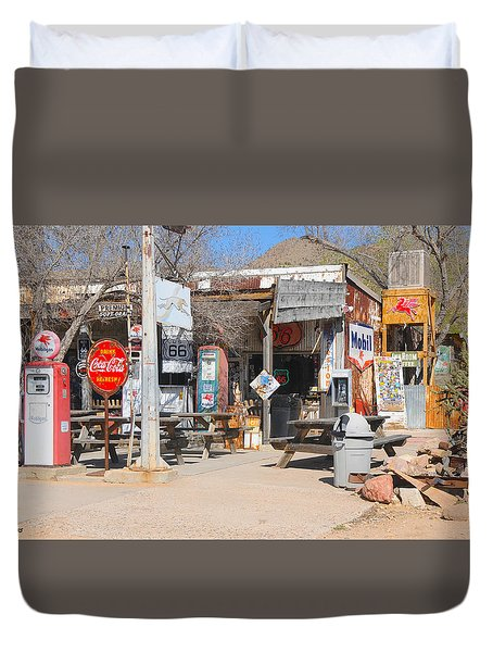 Old Gas Station, Historic Route 66 Duvet Cover