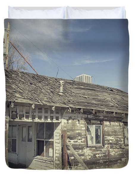 Duvet Cover featuring the photograph Old Gas Station by Robert Bales
