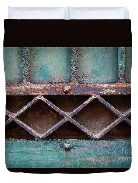 Duvet Cover featuring the photograph Old Gate Geometric Detail by Elena Elisseeva
