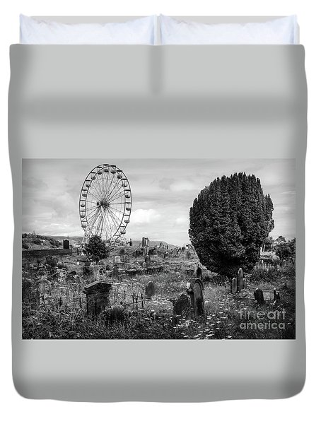 Old Glenarm Cemetery And Big Wheel Bw Duvet Cover by RicardMN Photography