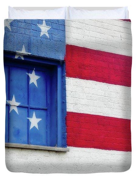 Old Glory, American Flag Mural, Street Art Duvet Cover