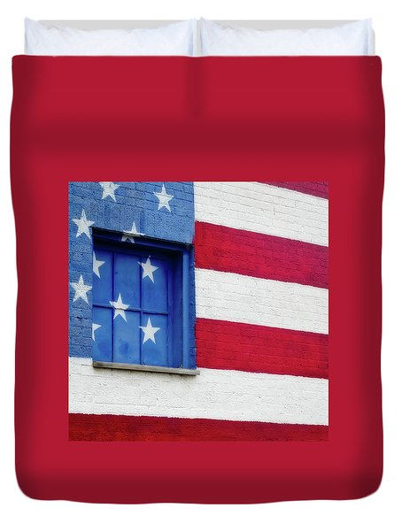 Old Glory, American Flag Mural, Street Art Duvet Cover