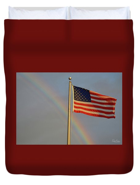 Old Glory And Rainbow Duvet Cover