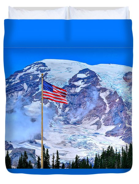 Old Glory At Mt. Rainier Duvet Cover