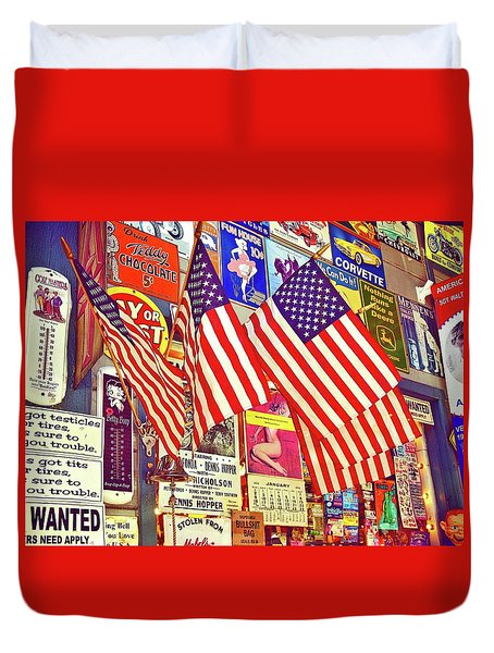 Duvet Cover featuring the photograph Old Glory by Joan Reese