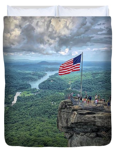 Old Glory On The Rock Duvet Cover