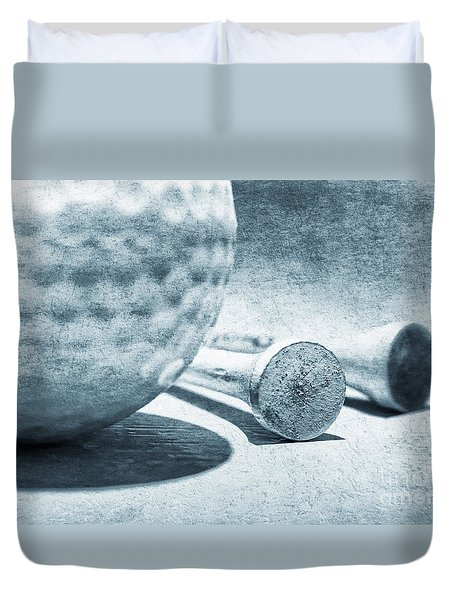 Duvet Cover featuring the photograph Old Golf Ball And Tees by Charline Xia