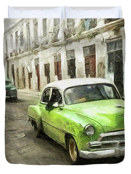 Old Green Car Duvet Cover
