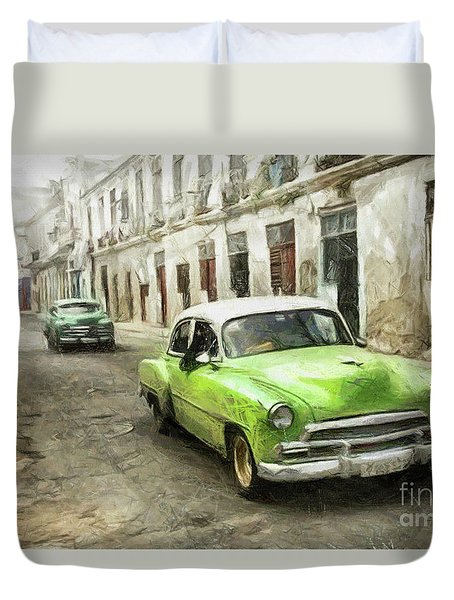 Old Green Car Duvet Cover