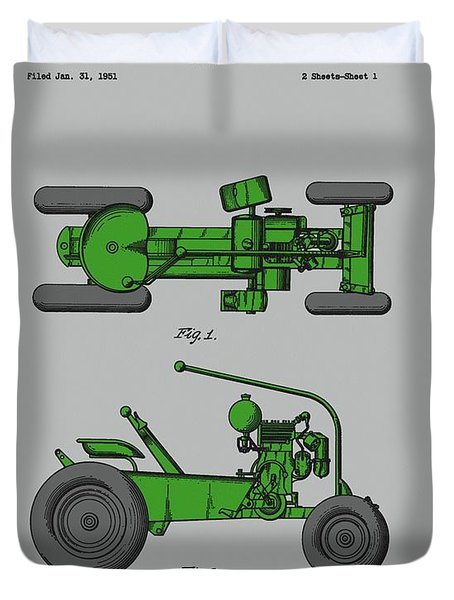Old Green Tractor Patent Duvet Cover