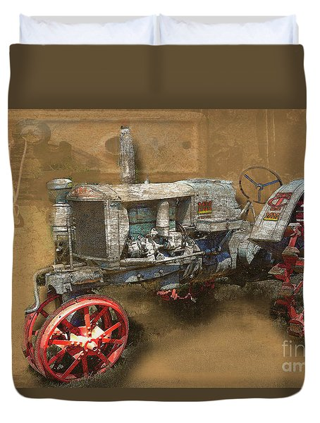 Old Grey Tractor Duvet Cover