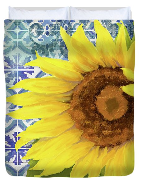 Duvet Cover featuring the painting Old Havana Sunflower - Cobalt Blue Tile Painted Over Wood by Audrey Jeanne Roberts