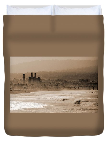 Old Hermosa Beach Duvet Cover