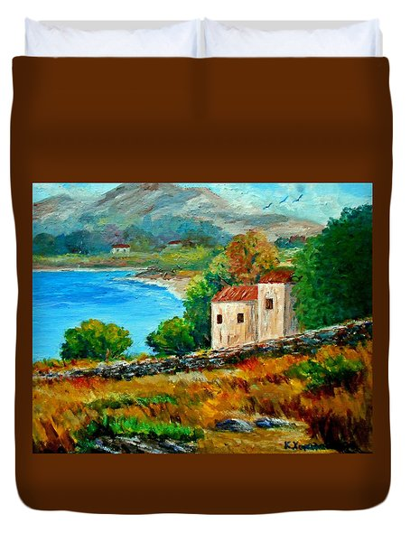 Old House In Mani Duvet Cover