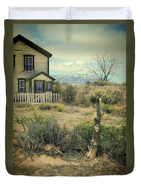 Duvet Cover featuring the photograph Old House Near Mountians by Jill Battaglia