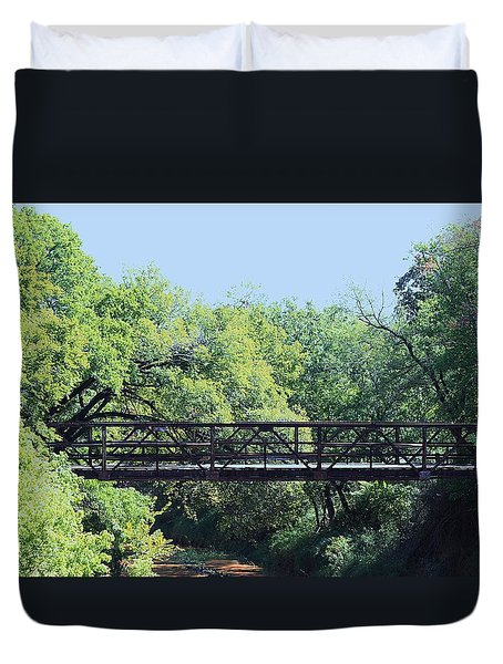 Duvet Cover featuring the photograph Old Iron Bridge Over Caddo Creek by Sheila Brown