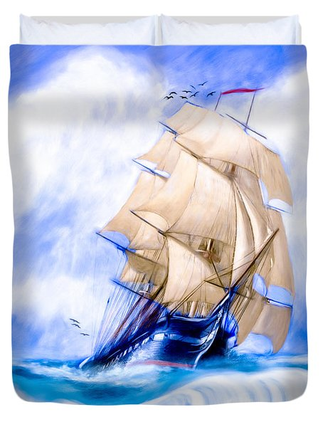 Old Ironsides On The High Seas Duvet Cover