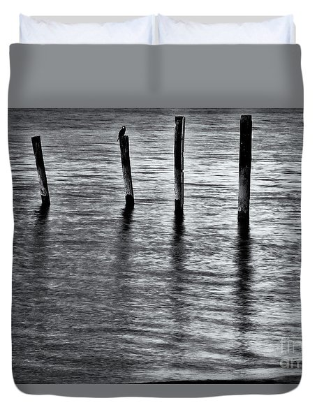 Duvet Cover featuring the photograph Old Jetty - S by Werner Padarin