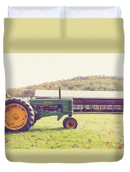 Duvet Cover featuring the photograph Old John Deere 50 Mac Farm Plainfield New Hampshire by Edward Fielding