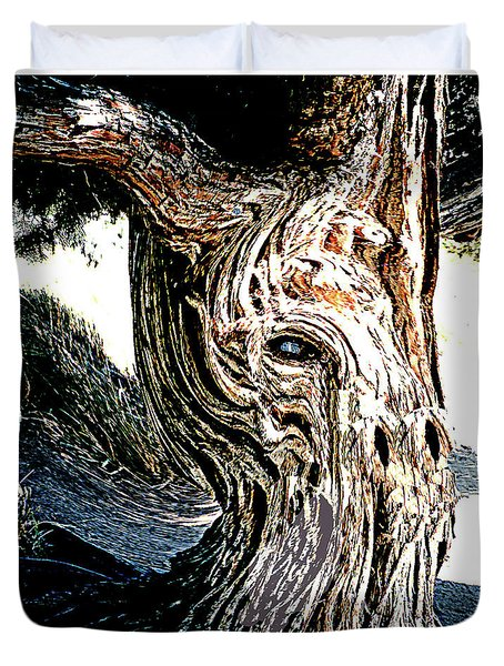 Duvet Cover featuring the digital art Old Juniper Mule Tree by Merton Allen