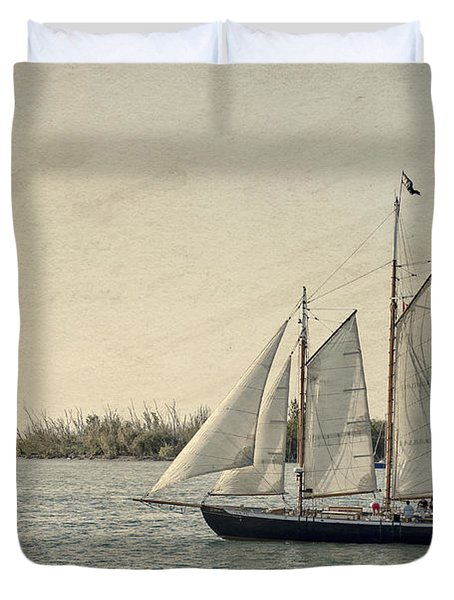 Old Key West Sailing Duvet Cover
