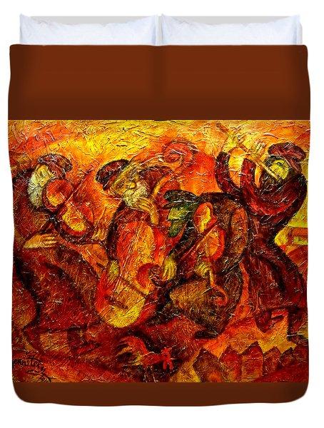 Old Klezmer Band Duvet Cover by Leon Zernitsky
