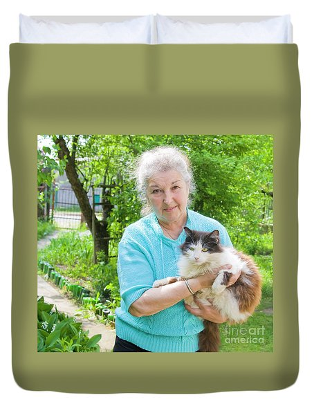 Old Lady With Cat Duvet Cover
