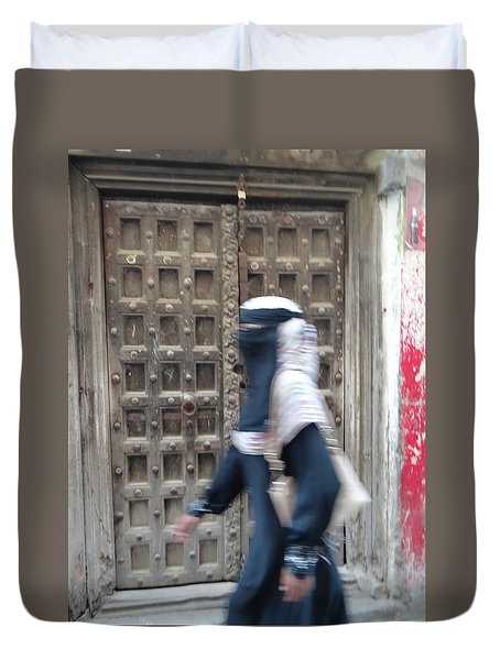 Old Lamu Town Muslim Woman Walking Duvet Cover