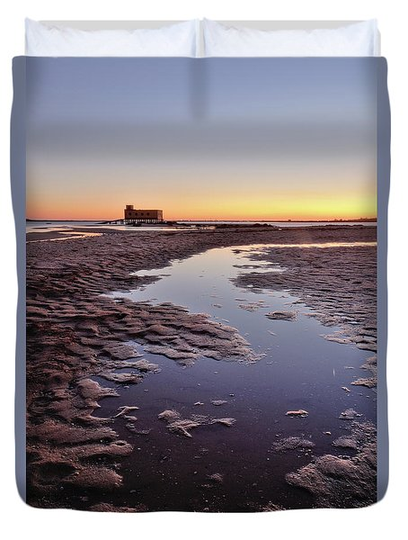 Old Lifesavers Building At Twilight Duvet Cover by Angelo DeVal