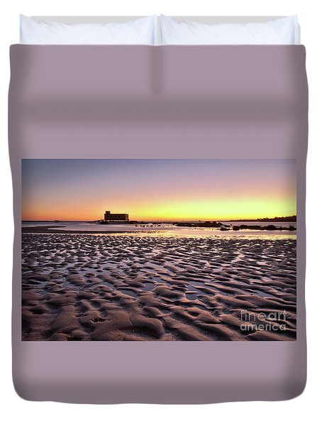 Old Lifesavers Building Covered By Warm Sunset Light Duvet Cover by Angelo DeVal