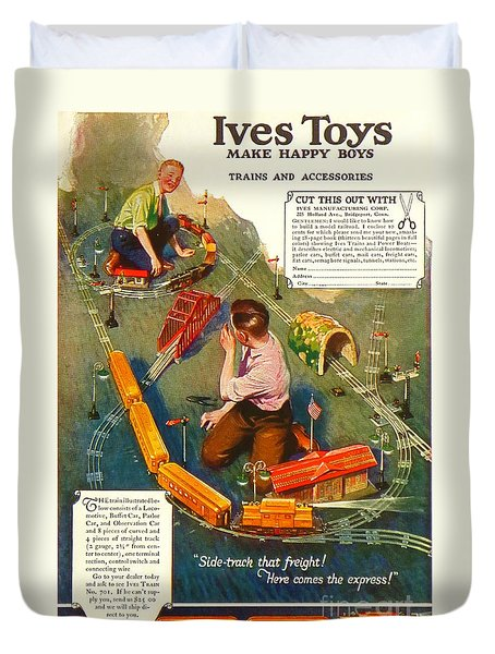 Old Litho Print Toy Train Advertisement Duvet Cover