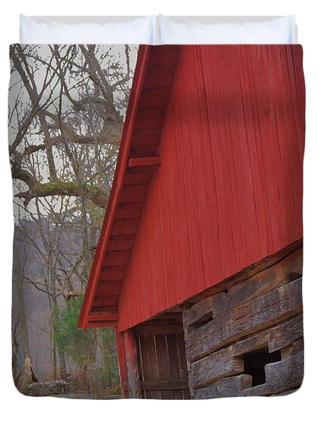 Duvet Cover featuring the photograph Old Log Barn by Debbie Karnes