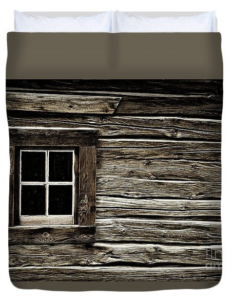 Duvet Cover featuring the photograph Old Log Cabin by Brad Allen Fine Art