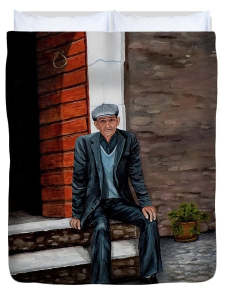 Duvet Cover featuring the painting Old Man Waiting by Judy Kirouac