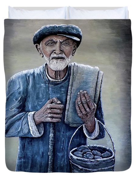 Duvet Cover featuring the painting Old Man With His Stones by Judy Kirouac