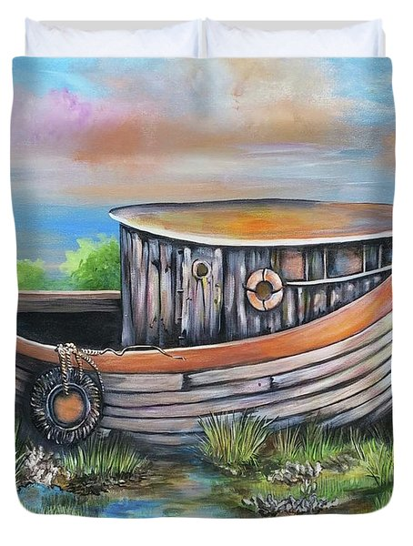 Old Mans Boat Duvet Cover