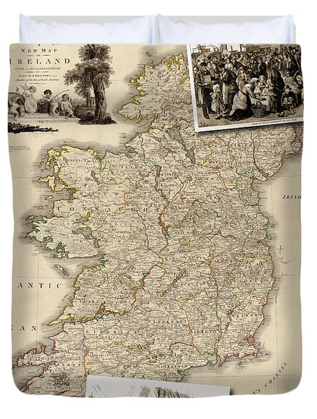 Vintage Map Of Ireland With Old Irish Woodcuts Duvet Cover