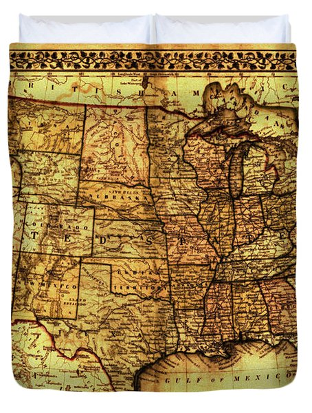 Old Map United States Duvet Cover