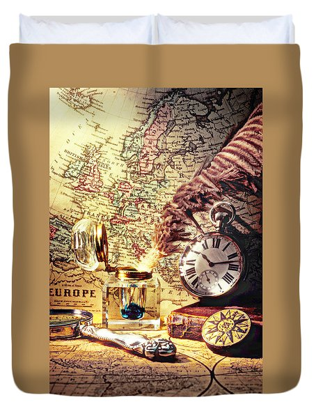 Old Maps And Ink Well Duvet Cover by Garry Gay