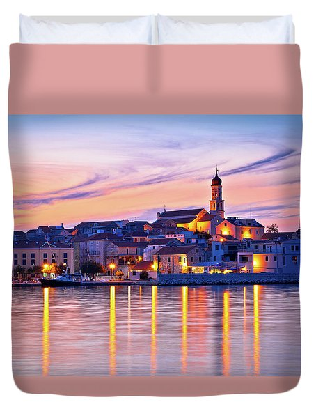 Old Mediterranean Town Of Betina Sunset View Duvet Cover by Brch Photography