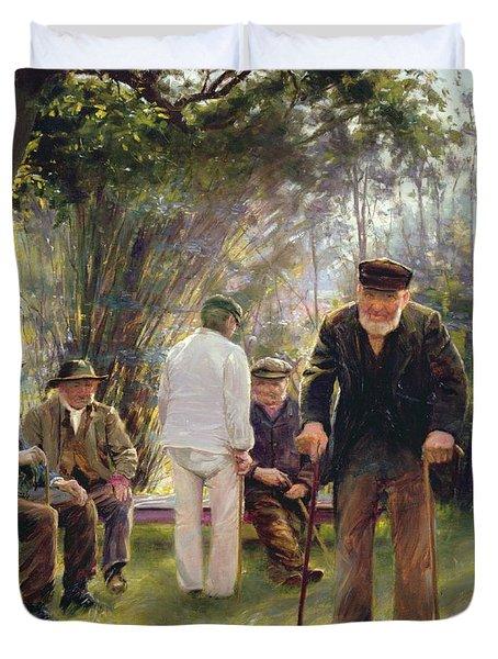Old Men In Rockingham Park Duvet Cover