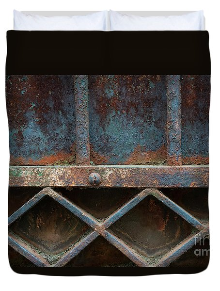 Duvet Cover featuring the photograph Old Metal Gate Detail by Elena Elisseeva