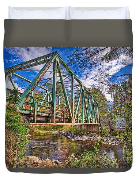 Duvet Cover featuring the photograph Old Metal Truss Bridge Newport New Hampshire by Edward Fielding