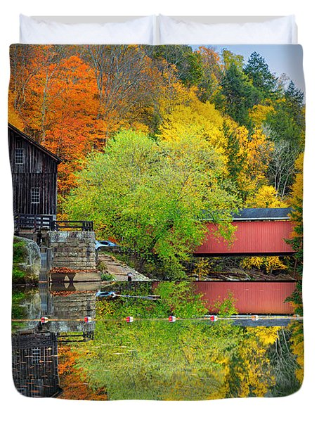 Old Mill In The Fall  Duvet Cover by Emmanuel Panagiotakis