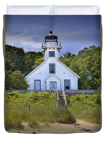 Old Mission Point Lighthouse In Grand Traverse Bay Michigan Number 2 Duvet Cover by Randall Nyhof