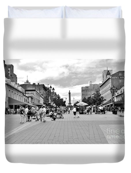Old Montreal Jacques Cartier Square Duvet Cover